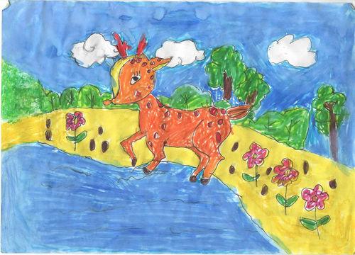 可爱小鹿中级儿童绘画大全