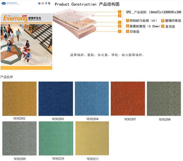 7, 伊宝龙有多种颜色和花纹体现各种装饰效果,是豪华典雅的卷材板