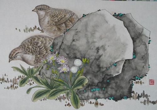 工笔花鸟画教程 二 工笔花鸟画的染色技法