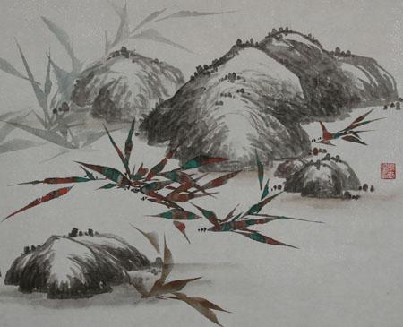 工笔花鸟画教程(三)--枝干(梗)及石头的画法