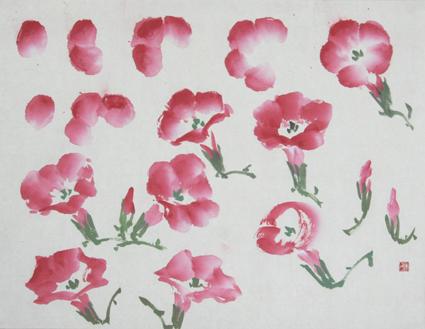 收笔要虚,三笔侧锋画出后面花形,两笔拖锋抹出前边花形,顺笔画出花筒