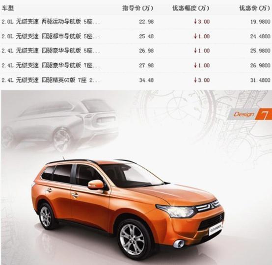 三菱欧蓝德进口SUV性价比之王最低19.98万起 -瑞安汽车网高清图片