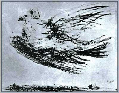 毕加索与和平鸽戏弄了整个世界高清图片