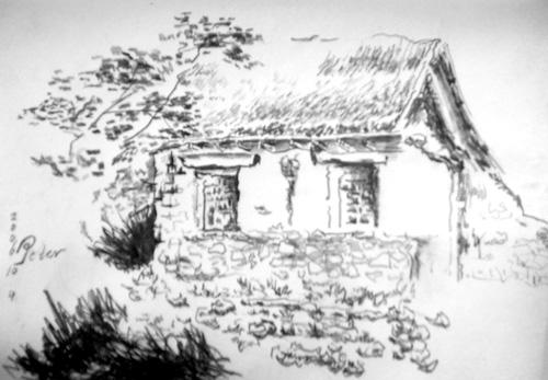 手绘农村风景图片