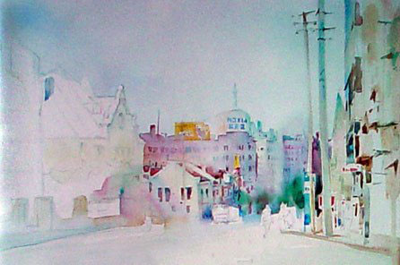 天空街道水粉手绘图片