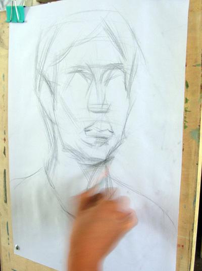 素描男青年头像写生步骤图解