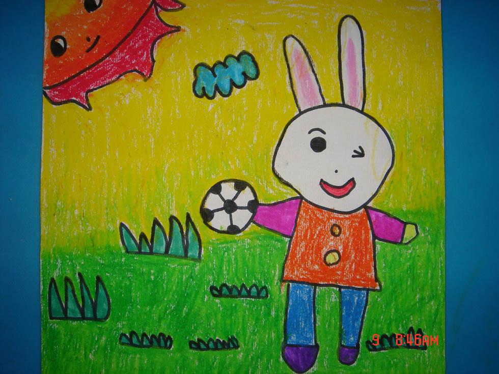 幼儿园画可爱的小白兔