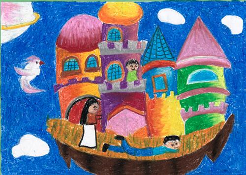 幼儿环保画作品_幼儿园(大二班; 李心竹作品《最后的家园》; 幼儿园图片
