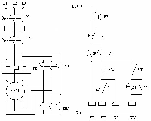 """以""""三相异步电动机正反转双重连锁控制电路"""""""