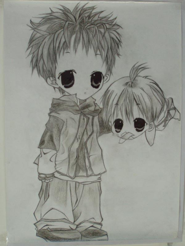 q版漫画手绘铅笔画男