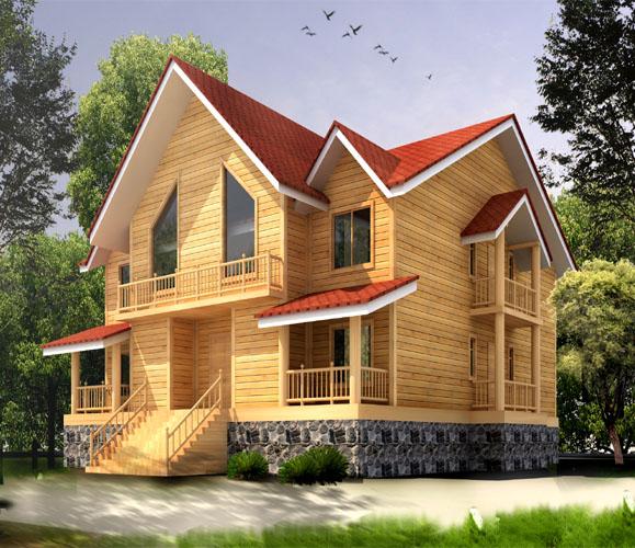 座落在山间的木屋别墅是度假村内最具浪漫色彩的宿营