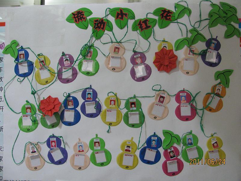 幼儿园托班照片墙; 今天我得的小红花; 幼儿园红花栏主题墙_幼儿园