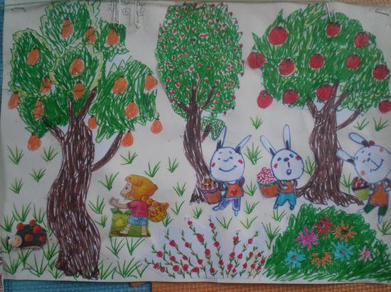 幼儿园画秋天的图画_幼儿秋天主题画简笔画图片