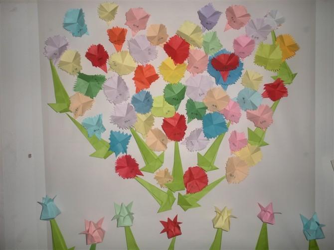 亲亲宝贝幼儿园蒙大班小朋友制作了折纸花