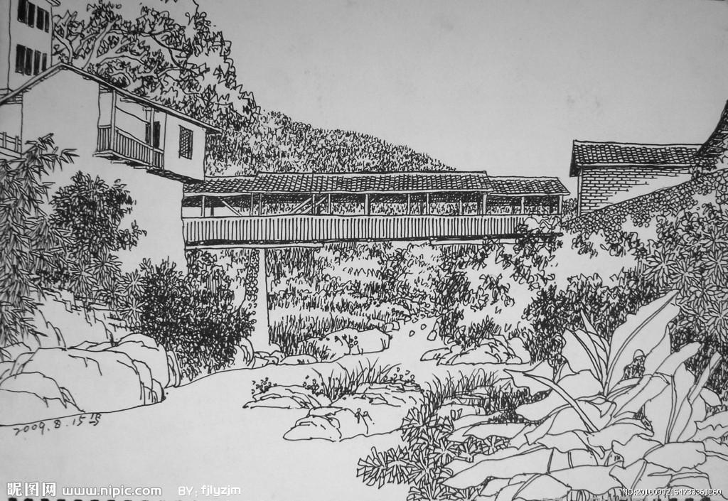 家乡风景钢笔画; 画家乡风景的画;