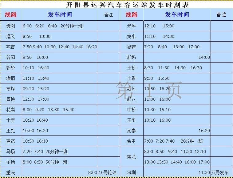 开阳县客车站发车时刻表
